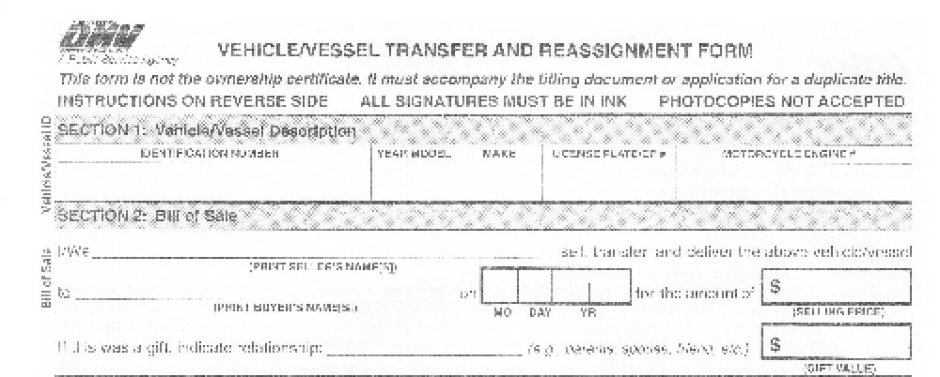 262 Form [Bill of Sale]